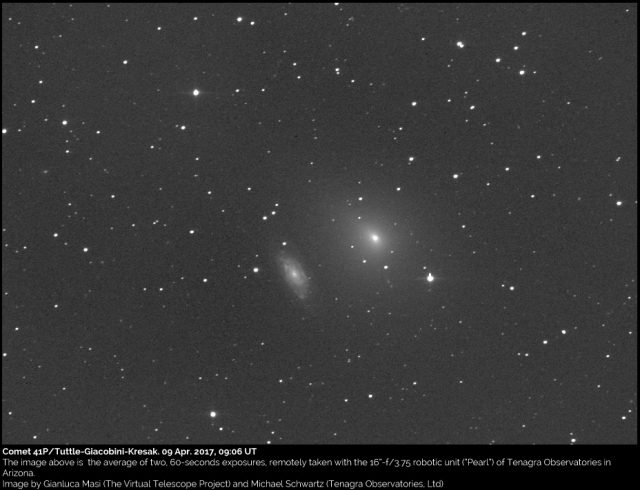 Comet 41P/Tuttle-Giacobini-Kresak meets the galaxy NGC 6015: 9 Apr. 2017