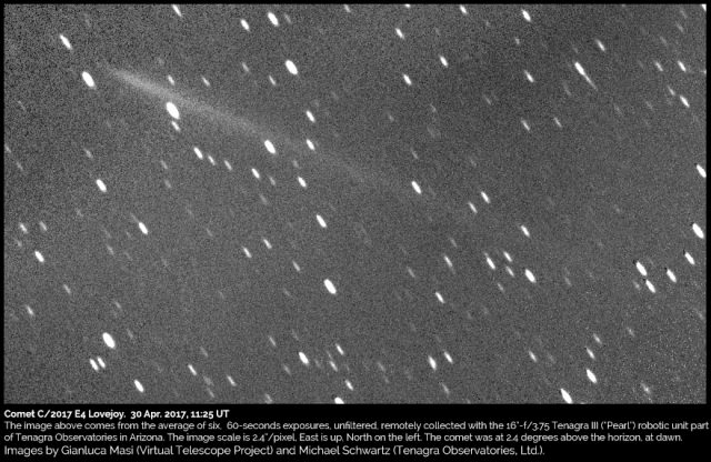 Comet C/2017 E4 Lovejoy : 30 Apr. 2017