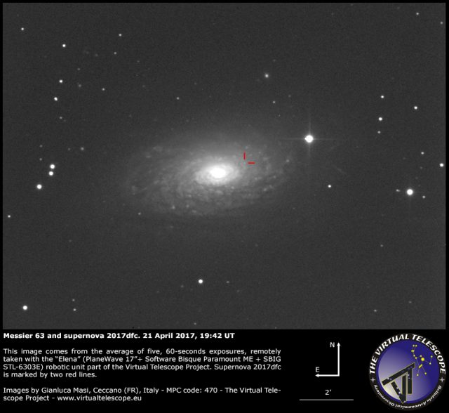 Supernova SN 2017dfc and Messier 63: 21 Apr. 2017