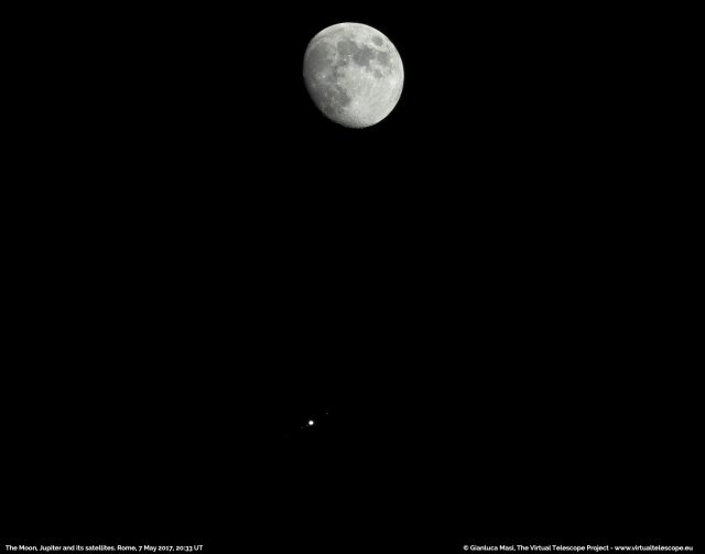 The Moon and Jupiter with its Galilean satellites: 7 May 2017