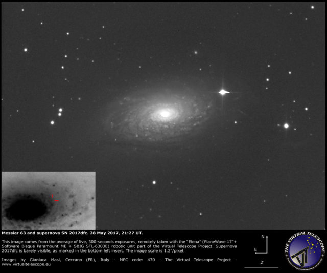 Supernova SN 2017dfc and Messier 63: 28 May 2017