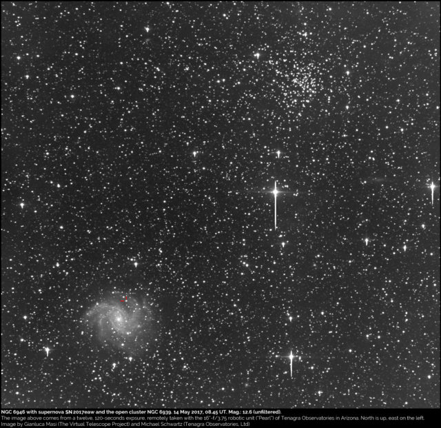 NGC 6946, supernova SN 2017eaw and the open cluster NGC 6939. 14 May 2017