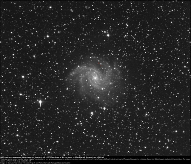 Supernova SN 2017eaw and NGC 6946: 25 May 2017