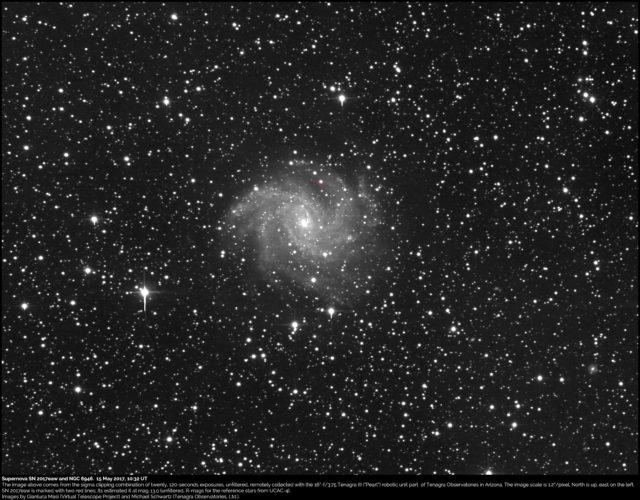 Supernova SN 2017eaw and NGC 6946: 15 May 2017
