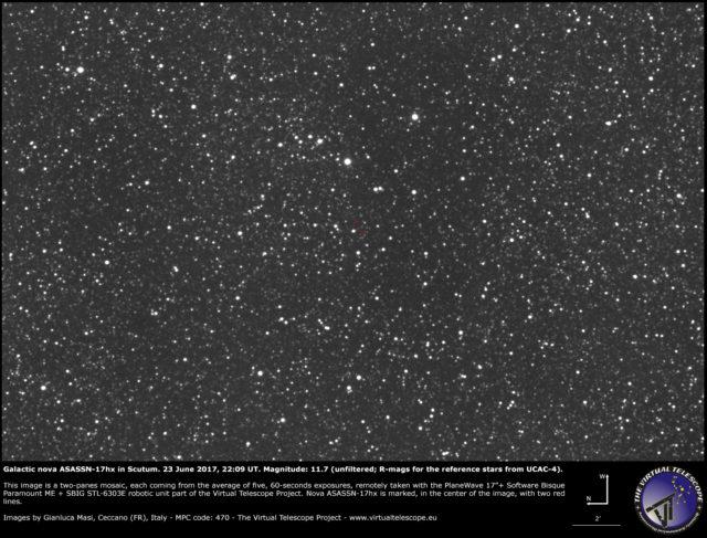 Galactic nova ASASSN-17hx in Scutum: 23 June 2017