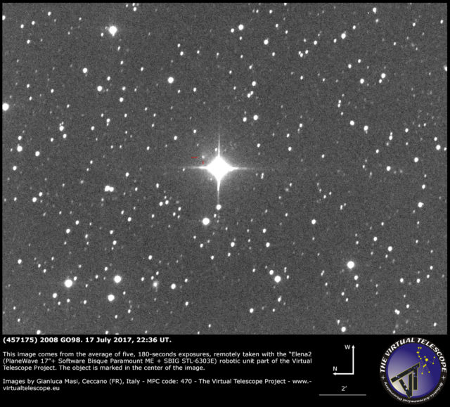 Cometary activity in (457175) 2008 GO98: 17 July 2017