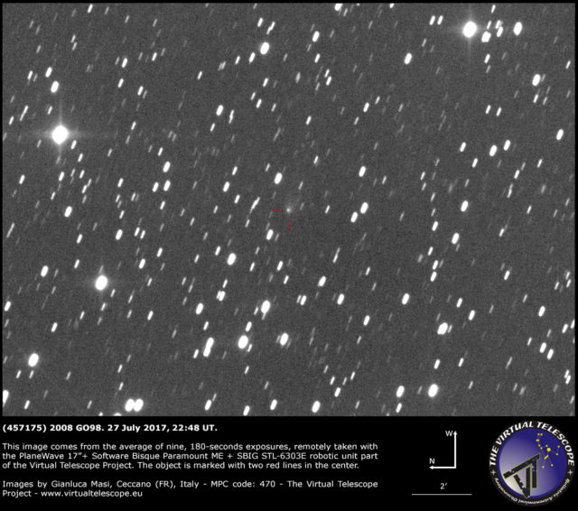 Cometary activity in (457175) 2008 GO98: 27 July 2017
