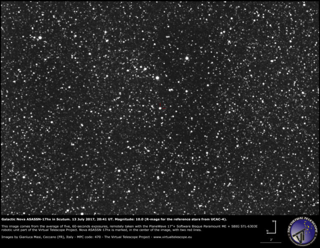 Galactic nova ASASSN-17hx in Scutum: 13 July 2017