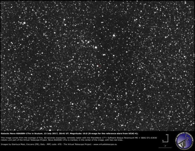 Galactic nova ASASSN-17hx in Scutum: 13 July 2017