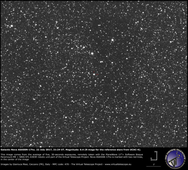 Galactic nova ASASSN-17hx in Scutum: 22 July 2017