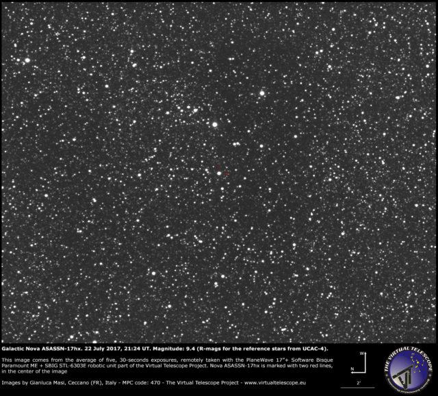 Galactic nova ASASSN-17hx in Scutum: 22 July 2017