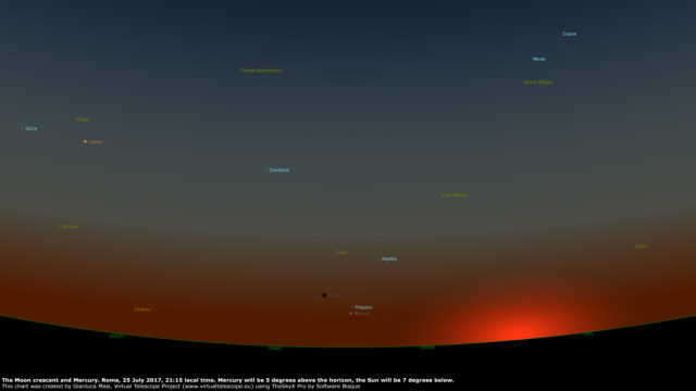 A star chart showing the Moon and Mercury at sunset, on 25 July 2017