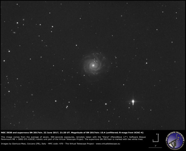 NGC 3938 and supernova SN 2017ein: 22 June 2017