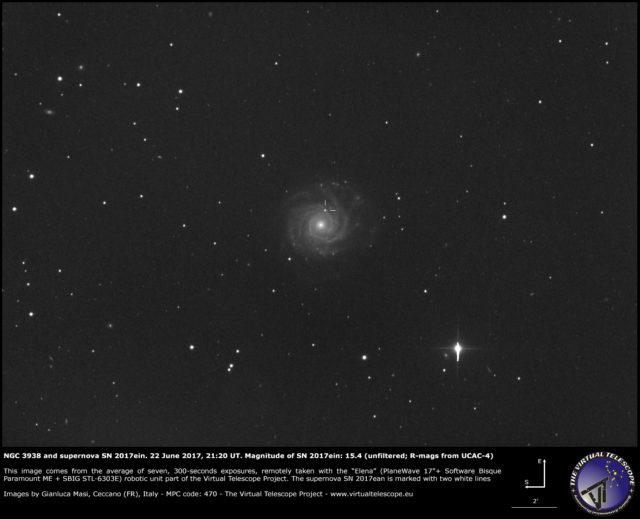 NGC 3938 and supernova SN 2017ein: 22 June 2017