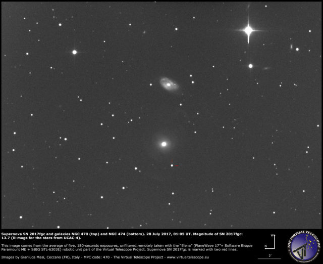 Supernova SN 2017fgc with galaxies NGC 470 (top) and NGC 474 (bottom): 28 July 2017