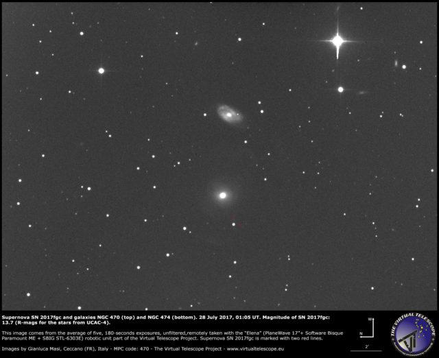 Supernova SN 2017fgc with galaxies NGC 470 (top) and NGC 474 (bottom): 28 July 2017