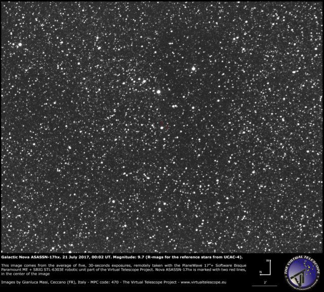 Galactic nova ASASSN-17hx in Scutum: 21 July 2017