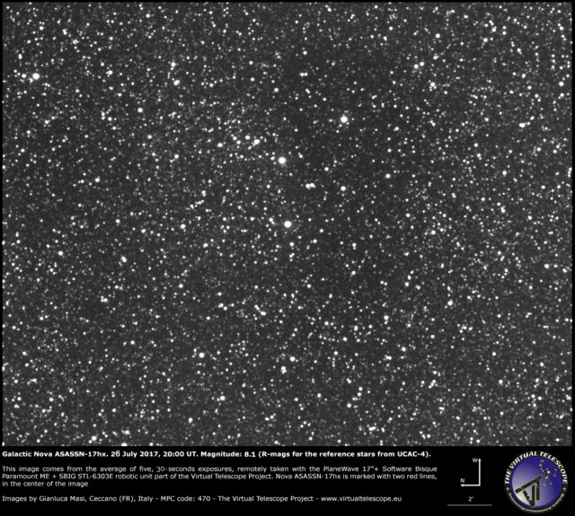 Galactic nova ASASSN-17hx in Scutum: 26 July 2017