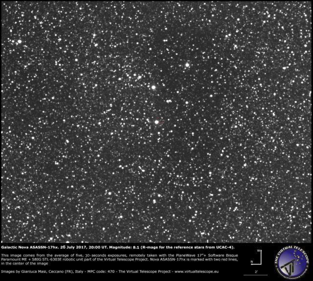 Galactic nova ASASSN-17hx in Scutum: 26 July 2017