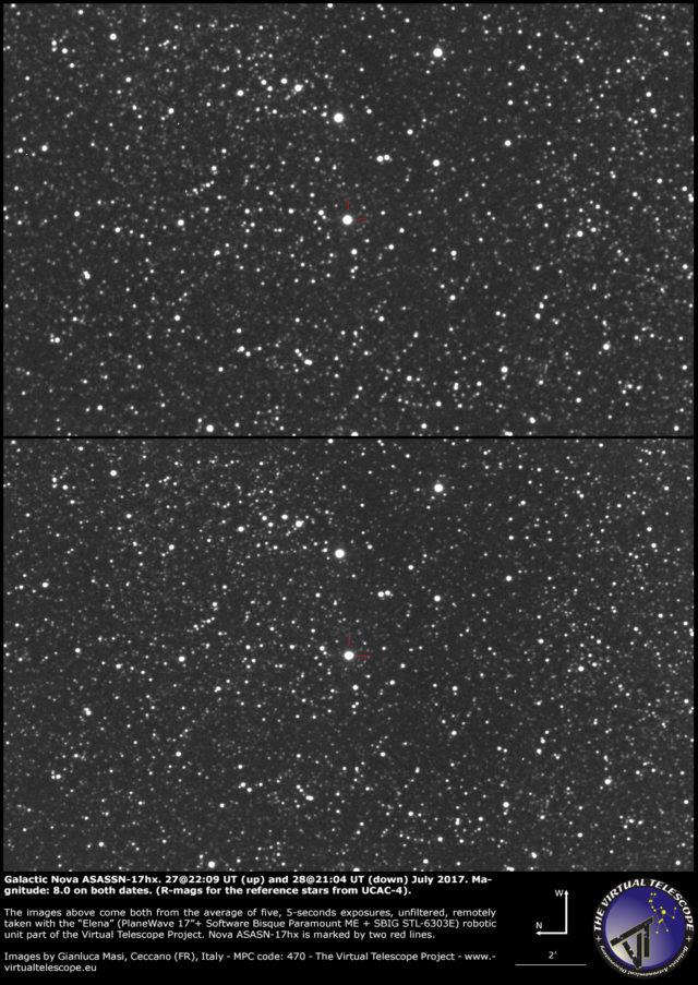 Galactic nova ASASSN-17hx in Scutum: 27 (up) and 28 (down) July 2017
