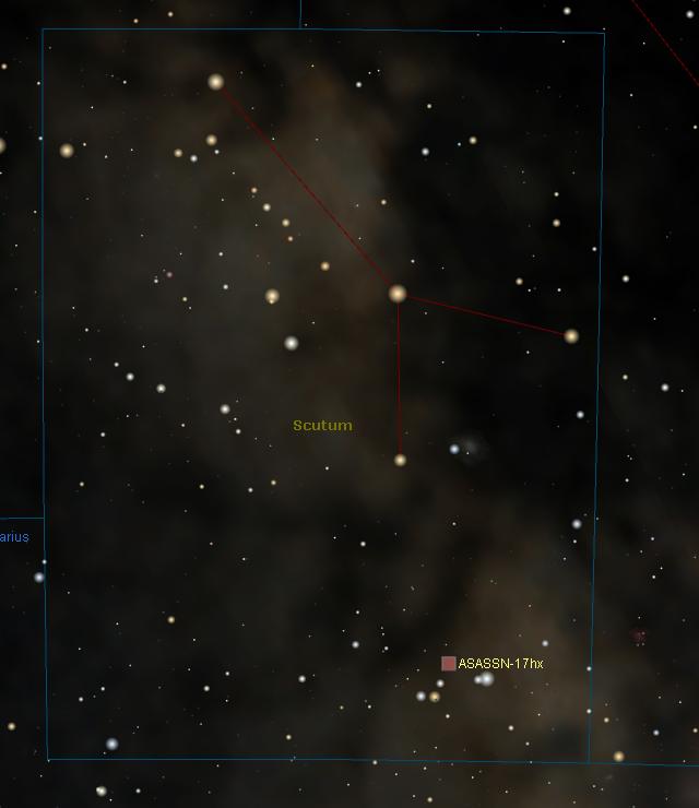 Location of ASASSN-17hx in Scutum