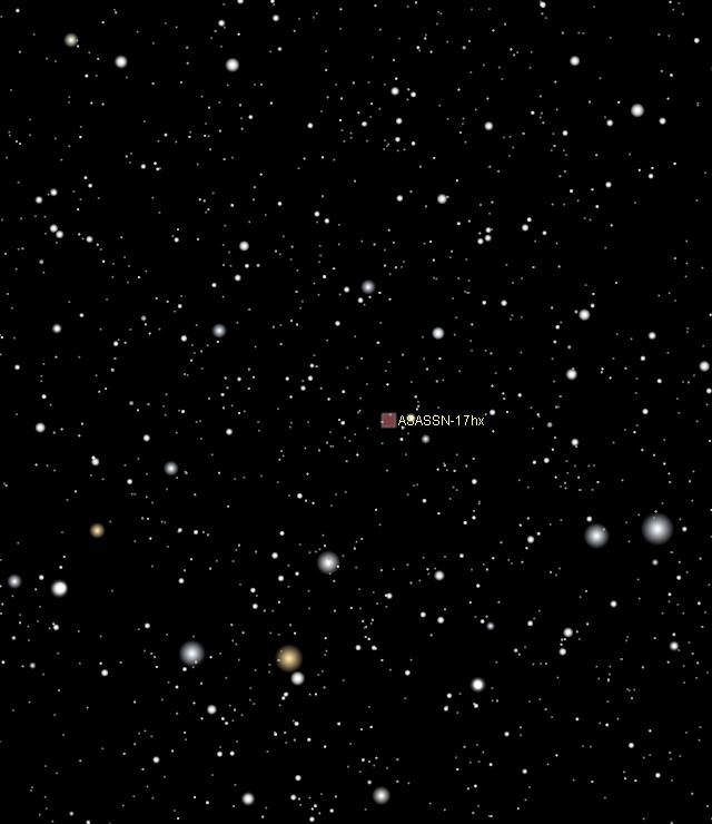 Location of ASASSN-17hx in Scutum: close-up