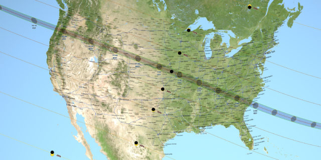 USA 2017 Eclipse: the 21 Aug. totale eclipse, path of the totality.