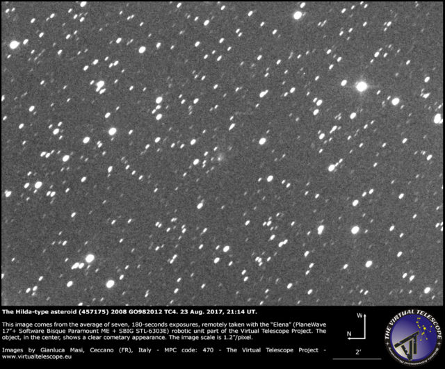 Cometary activity in (457175) 2008 GO98: 23 Aug. 2017