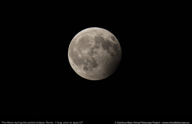 The Moon almost left the Earth's shadow. 07 Aug. 2017, 19:21 UT