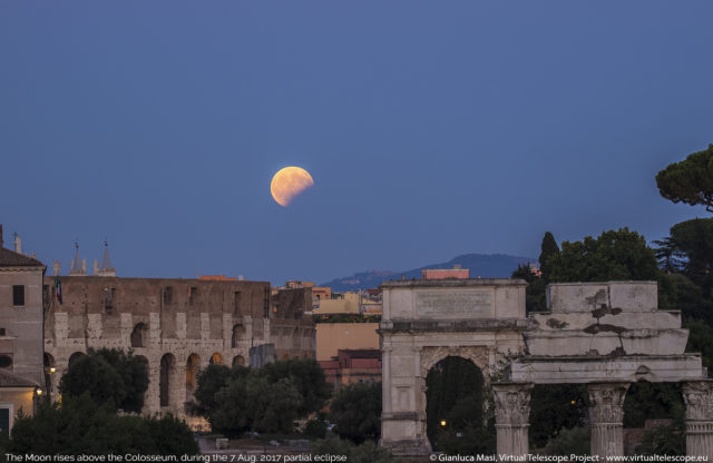 The Moon, during the partial eclipse, rises above the Colosseum. 7 Aug. 2017 - 18:30 UT