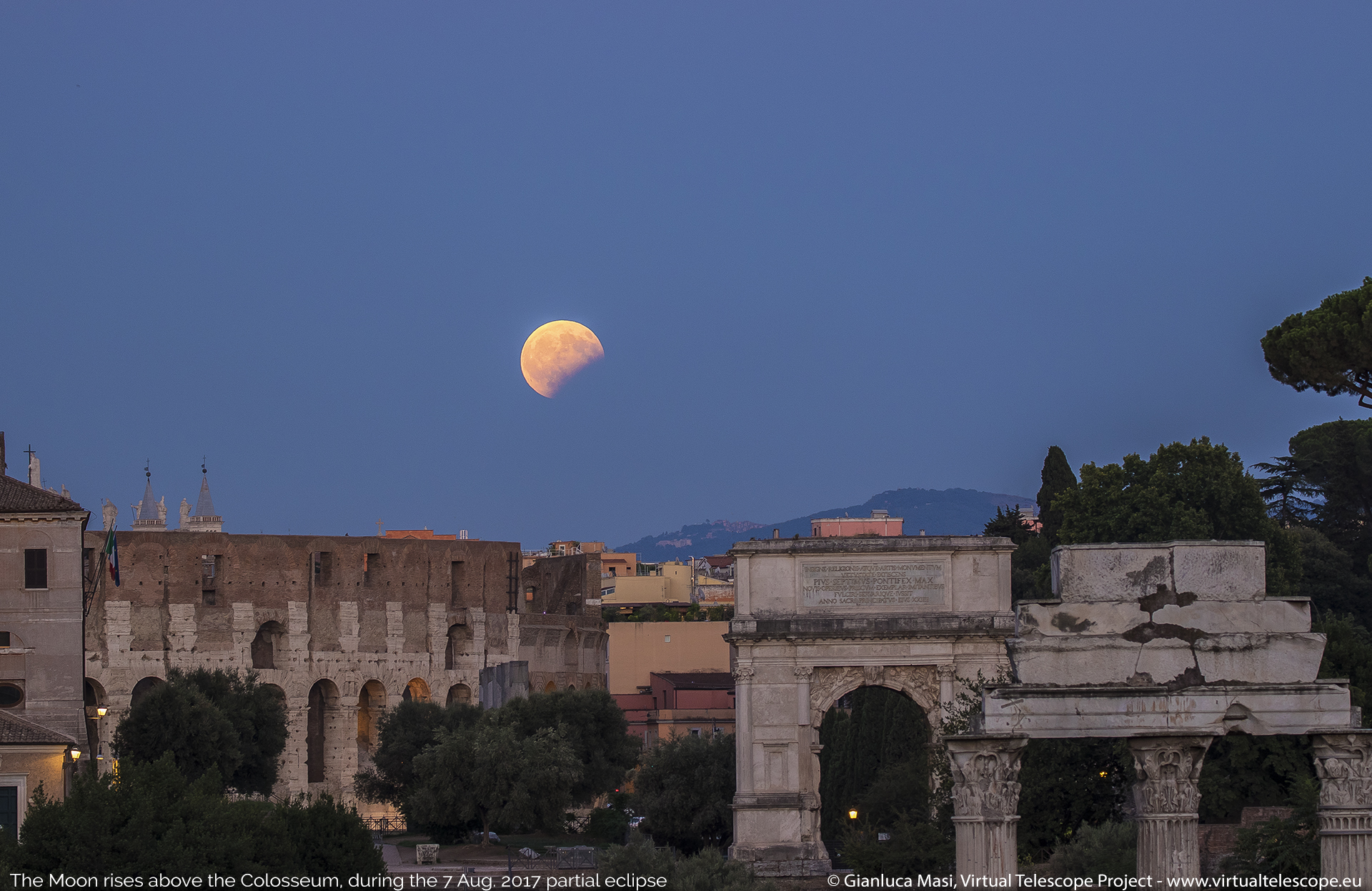 partial lunar eclipse in rome above the colosseum 07 aug 2017