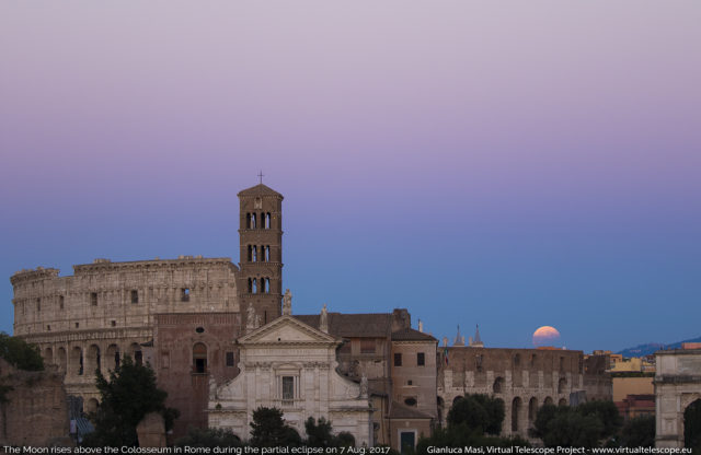 The Moon, already eclipsed, just rises above the Colosseum - 7 Aug. 2017, 18:24 UT