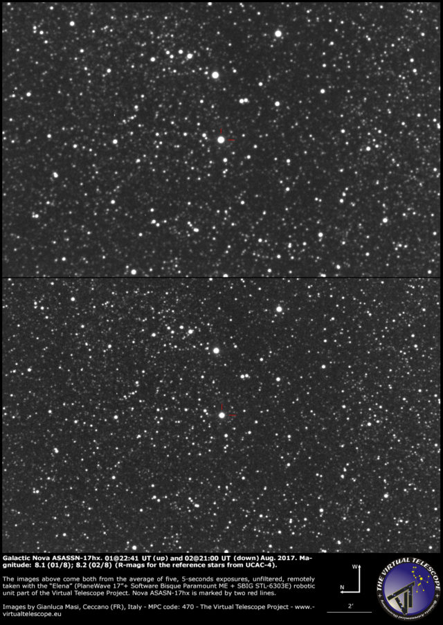 Galactic nova ASASSN-17hx in Scutum: 01 (up) and 02 (down) August 2017