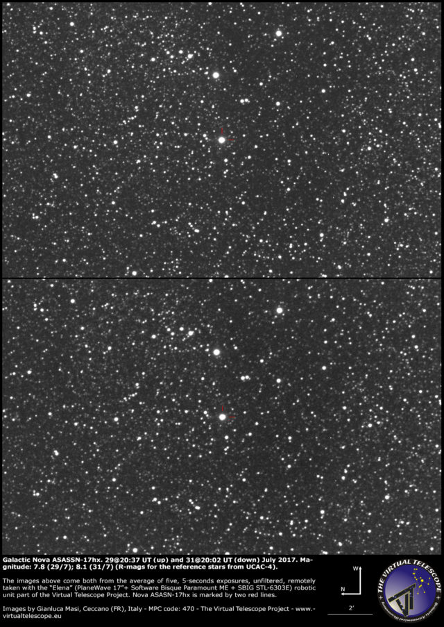 Galactic nova ASASSN-17hx in Scutum: 29 (up) and 31 (down) July 2017