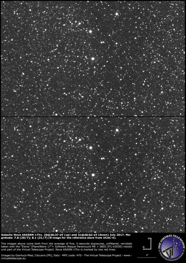 Galactic nova ASASSN-17hx in Scutum: 29 (up) and 31 (down) July 2017