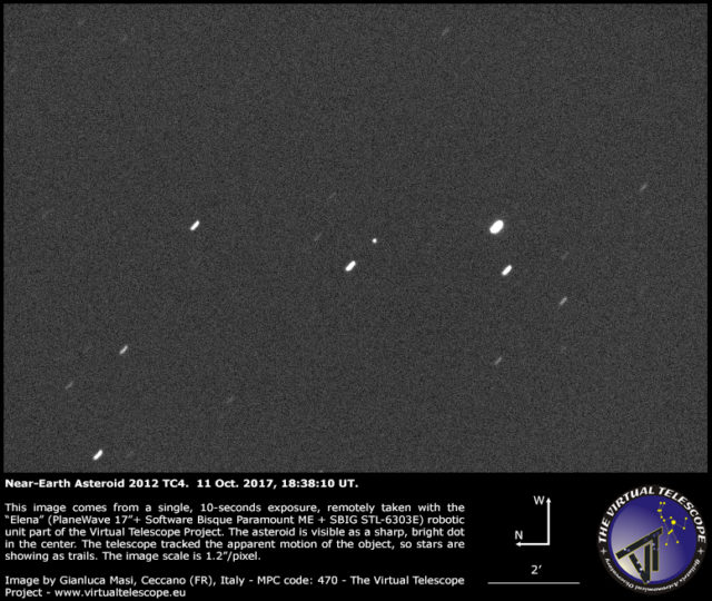 Near-Earth Asteroid 2012 TC4, imaged during our live feed: 11 Oct. 2017