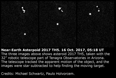 Near-Earth asteroid 2017 TH5: 16 Oct. 2017