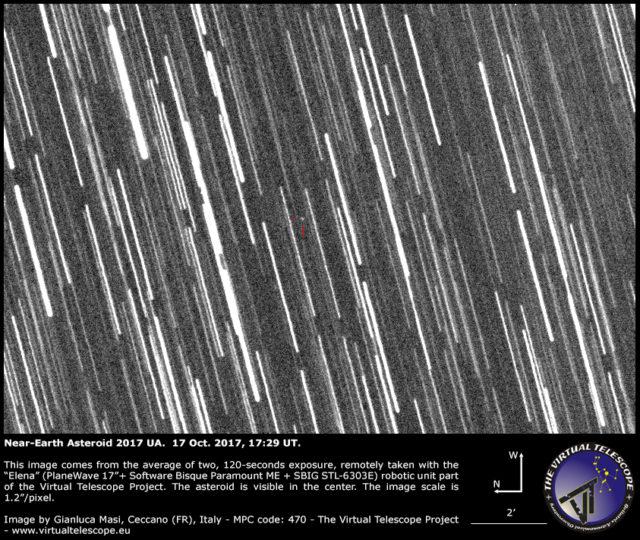 Near-Earth asteroid 2017 UA close encounter: 17 Oct. 2017