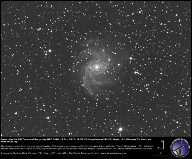 Supernova SN 2017eaw and NGC 6946: 13 Oct. 2017