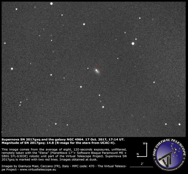 Supernova SN 2017gxq and NGC 4964: 17 Oct. 2017
