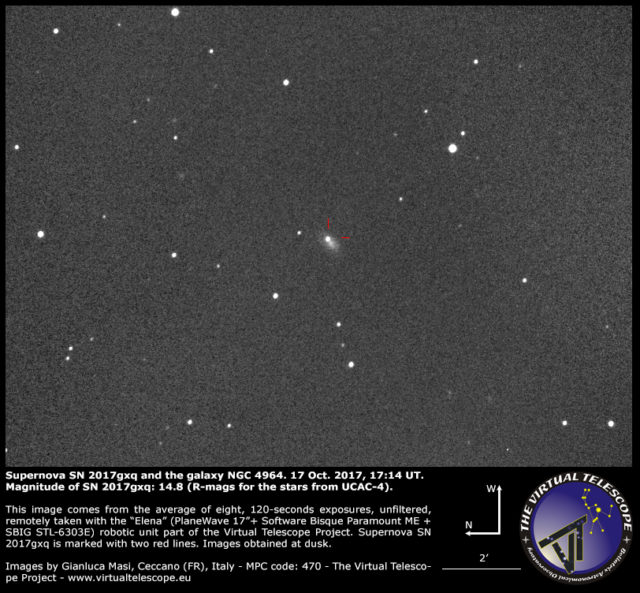 Supernova SN 2017gxq and NGC 4964: 17 Oct. 2017