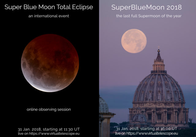 """""""Super Blue Moon Total Eclipse"""" and """"Super BlueMoon 2018"""": poster of the events"""