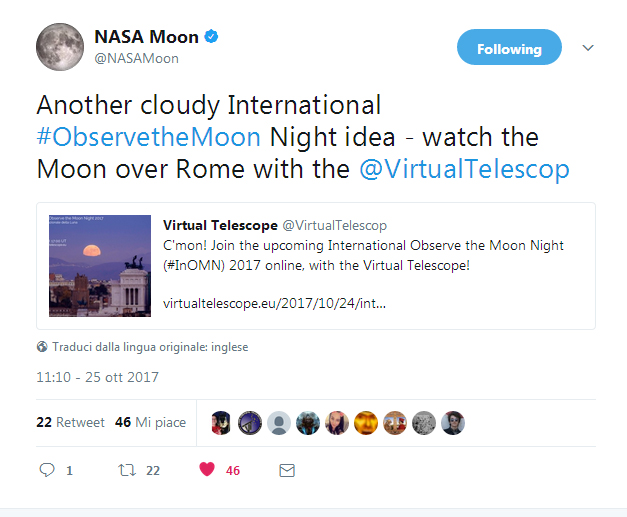 Nasa endorsing our event on twitter!