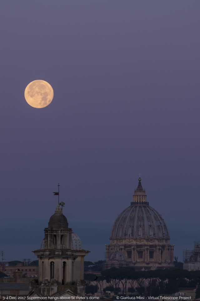 The Supermoon approaches the St. Peter's Dome, while the Venus belt is a perfect background for the show .