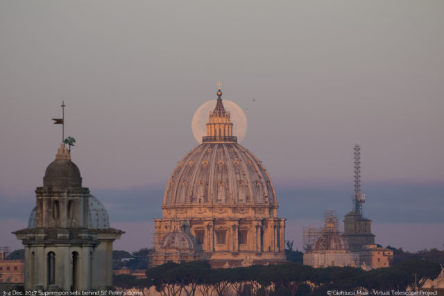 The 3/4 Dec. 2017 Supermoon behind the lantern of the St. Peter's Dome, at dawn.