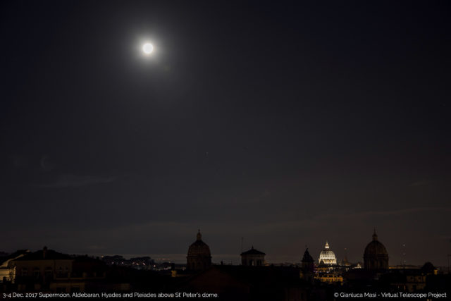 The bright Supermoon was shining above a sleeping Rome, with the star Aldebaran, Hyades and Pleiades on the background.