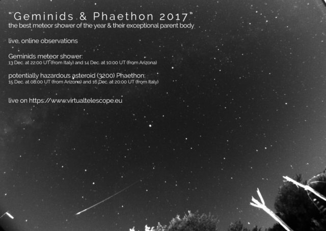 """""""Geminids & Phaethon 2017"""": poster of the event"""