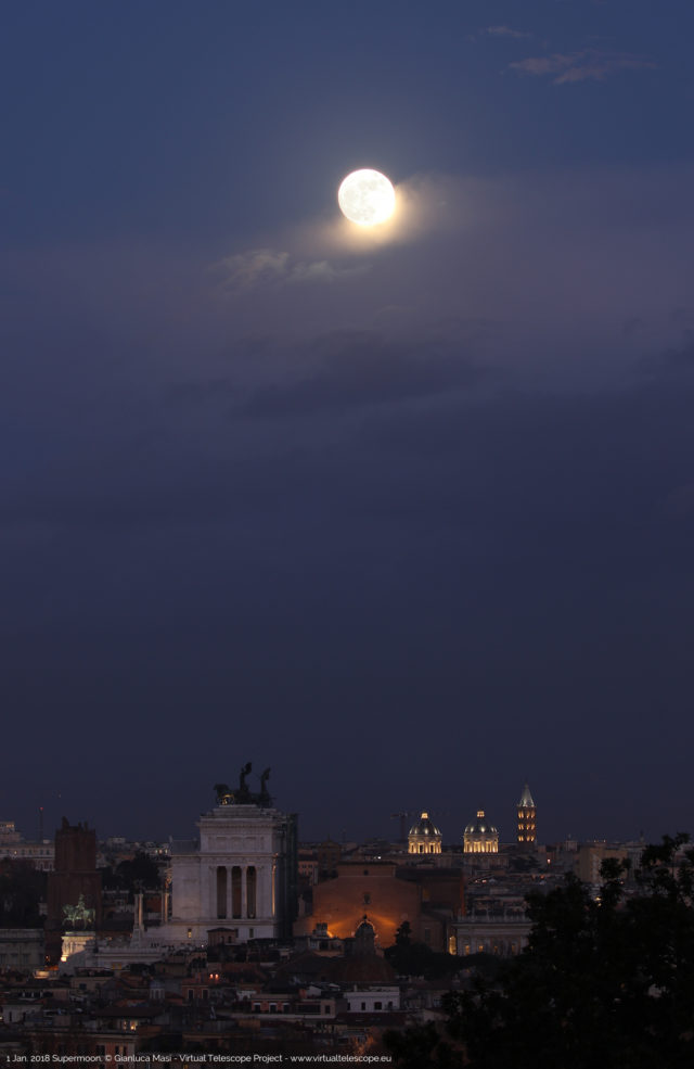 The 1 Jan. 2018 Supermoon shining above the skyline of Rome
