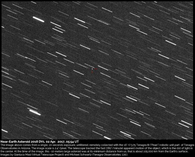 Near-Earth asteroid 2018 DV1: 02 Mar. 2018