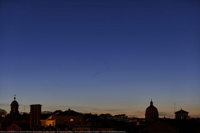 Venus and Mercury set above Rome, at dusk. 14 Mar. 2018